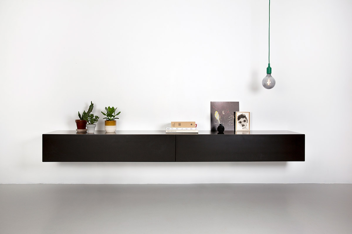 Norm 240 zwart Design TV wandmeubel